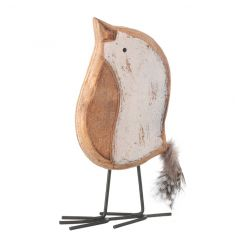 Small wooden bird decoration with cute feather tail