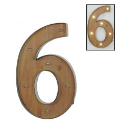 Shabby and chic LED number 6 sign with distressed finish