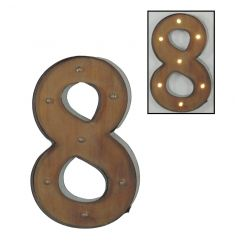 Rustic number 8 sign with pretty LED lights