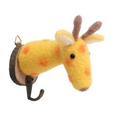 Colourful giraffe hook made from a chic wool material