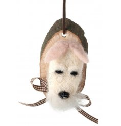 Hanging woollen dog decoration on a wooden mount