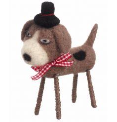 Decorative woollen standing dog with hat
