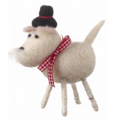 Woollen standing dog decoration with a festive hat and bow