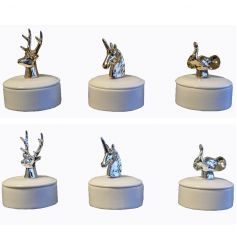 Decorative animal trinket boxes in silver and gold