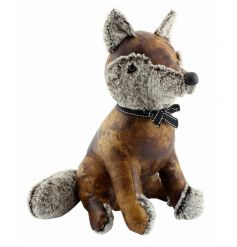 Decorative faux leather fox doorstop by Leonardo
