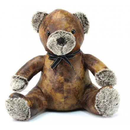 Teddy Bear Faux Leather Doorstop