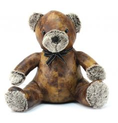 Faux leather doorstop in a teddy bear design