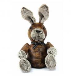 Faux Leather style rabbit doorstop in a rustic design