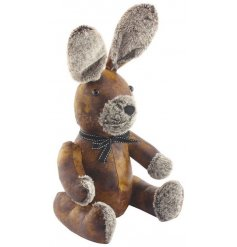 A rustic faux leather doorstop in a rabbit design