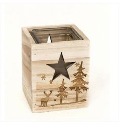 A chunky wooden candle holder with festive image and star cut out detail.