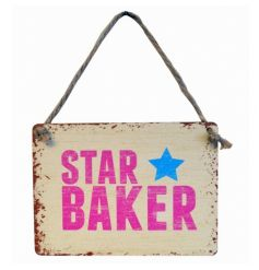 A fun mini metal star baker sign with a shabby chic finish.