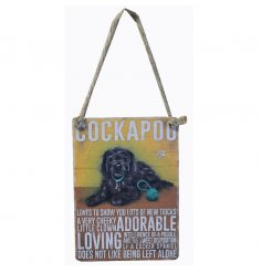 Popular Cockapoo design on a mini metal dangler with string hanger