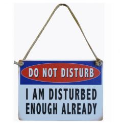 Do Not Disturb. I am disturbed enough already. Humorous mini metal sign with jute string.