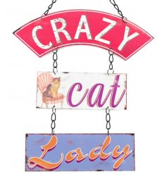 Humorous crazy cat lady hanging plaque