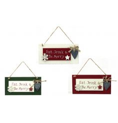 An assortment of three wooden Christmas plaques