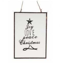 Hanging glass plaque with pretty Christmas text