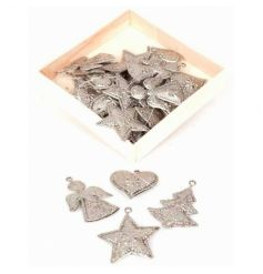 A wooden box of silver decorations in festive shapes