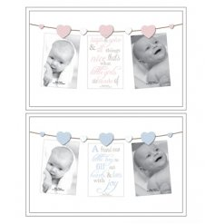 Pink and blue baby picture frames with wooden pegs