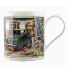 A cachet china mug with country land rover print