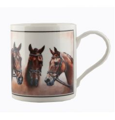 A cachet china mug with lucky horse print