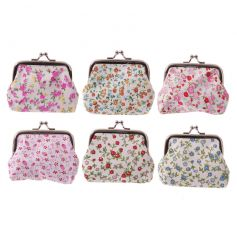 An assortment of 6 floral coin purses