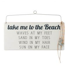 Wooden sign by Heaven Sends with popular beach text