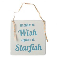 Hanging wooden sign with cute wish text