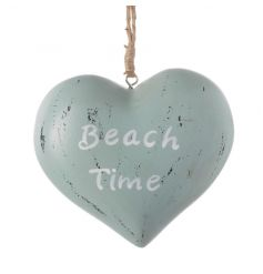 Nautical style hanging wooden heart with Beach Time text