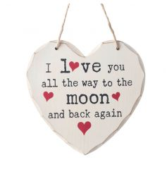 Popular Love You quote on a hanging wooden heart sign