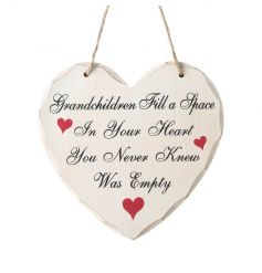 Popular Grandchildren text on a shabby chic heart sign