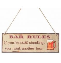 Hanging wooden sign with humorous beer text