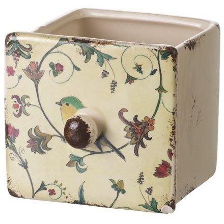 Ceramic Pot With Bird Design