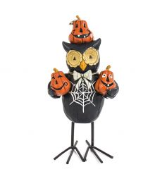 Standing owl decoration with pumpkins