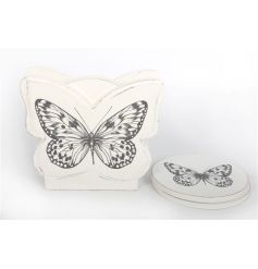 Set of four white butterfly coasters in a matching holder