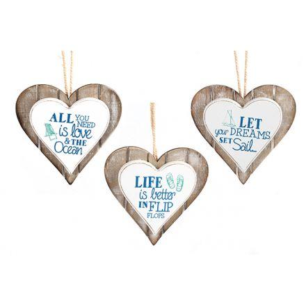 Ocean Wooden Heart Decorations