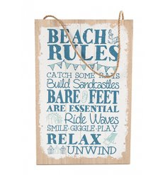 Hanging wooden sign with popular Beach Rules text