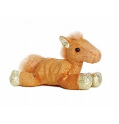 An Orange & Gold Flopsie Horse Soft Toy