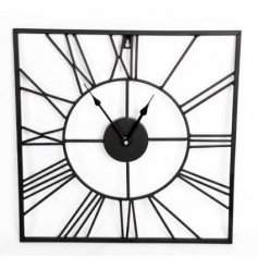 A stylish square clock with roman numerals. A great home accessory to suit many styles.