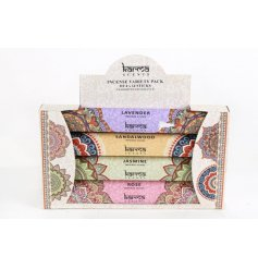 A mixed pack of stylish incense sticks in popular fragrances.