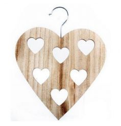 A practical and stylish wooden scarf hanger with heart shaped holes. A chic storage solution!