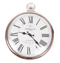 A chic and stylish copper wall clock in the style of a pocket watch.