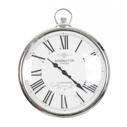 Silver Pocket Watch Clock, Large