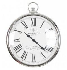 A chic silver wall clock in the style of a traditional pocket watch