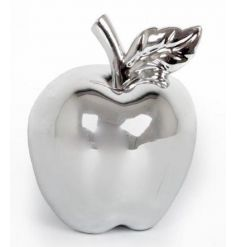 Ornamental silver apple decoration for the home