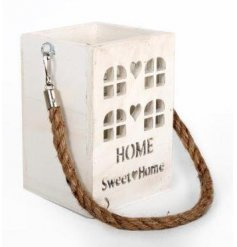 A rustic style Home Sweet Home house lantern with chunky rope handle.