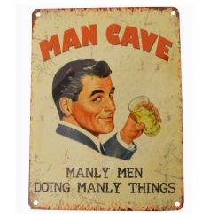 A retro style Man Cave metal sign with jute string to hang.