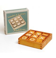 A traditional noughts and crosses wooden game with a retro gift box to match