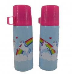 A colourful unicorn design flask with matching gift box.