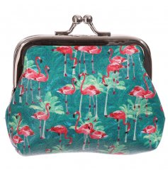 Tropical style coin purse with Lauren Billingham Flamingo design