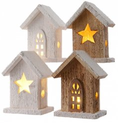 A mix of 4 utterly charming wooden houses with LED lights. A great feature for the home this season.